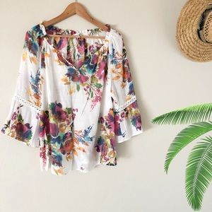 SPENCE Floral Long Sleeves Tunic Top